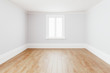 Leinwandbild Motiv Blank simple interior room background empty white walls corner and white wood floor contemporary,3D rendering
