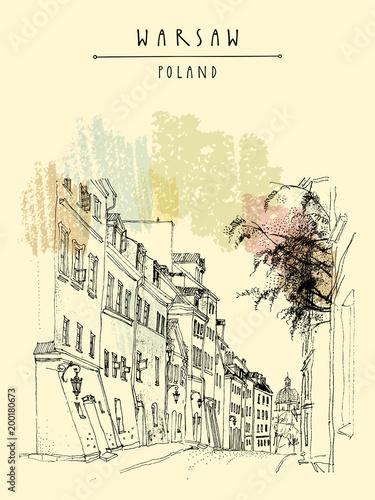 stare-miasto-w-warszawie-polska-europa-brukowiec-ulica-w-dziejowym-miasteczku-archiwalne-pocztowki-wyciagnac-reke