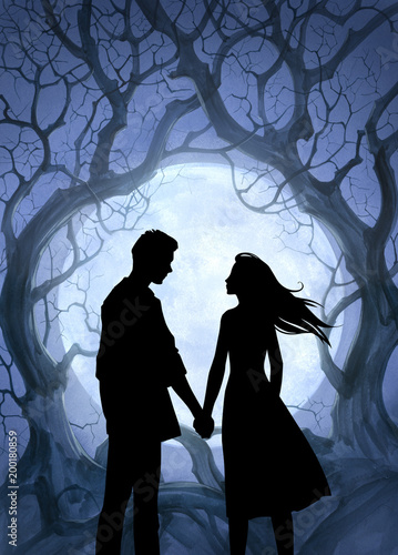 Beautiful cartoon black silhouette illustration of a young couple in love holding hands on a romantic background - 200180859
