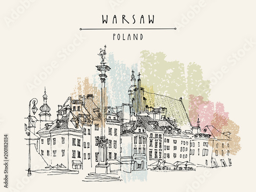 Castle Square in Warsaw. King Sigismund's Column (Kolumna Zygmunta), St. John's Archicathedral. Vintage travel hand drawn postcard - 200182034