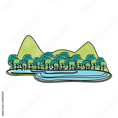 Foto op Canvas Wit mountains landscape with lake over white background, colorful design. vector illustration