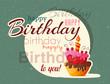 Birthday cake vector card with cake