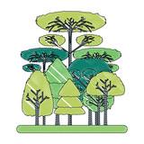 forest landscape over white background, colorful design. vector illustration