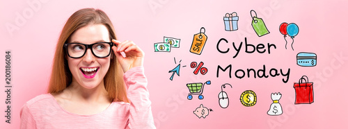 Cyber Monday with happy young woman holding her glasses