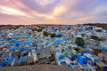 blue city - jodhpur cityscape in rajasthan, india
