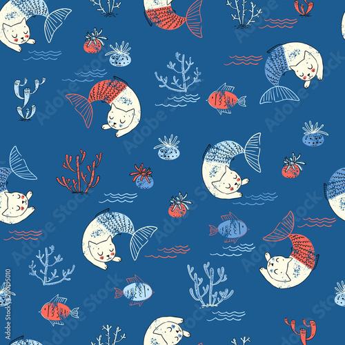 Cotton fabric Cute little cat mermaid seamless pattern. Textured  illustration