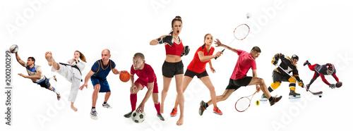 Leinwanddruck Bild Sport collage about kickboxing, soccer, american football, basketball, ice hockey, badminton, taekwondo, tennis, rugby