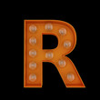 3D Illustration. The capital letter R with light bulbs.