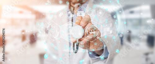 Doktorski używa cyfrowy medyczny futurystyczny interfejsu 3D rendering