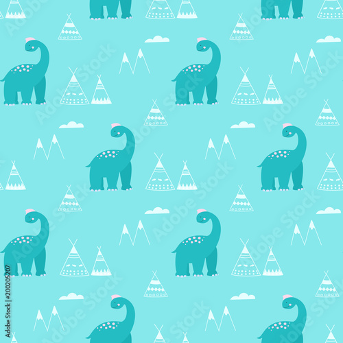 Cotton fabric Dinosaurs in cartoon style seamless vector pattern.