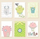 Set of cute cartoon monsters greeting or invitation cards.