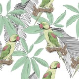 Tropical seamless vector pattern with parrot and leaves.