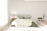 Idea of white minimalist bedroom. Scandinavian interior design. 3D illustration - 200209683