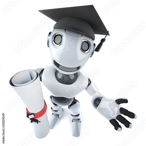 3d Funny cartoon robot character wearing a graduate mortar board and holding a diploma