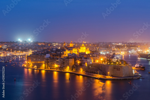 Senglea and Three Cities and Grand Harbor in Malta at night