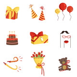 Flat vector set of birthday party elements. Gifts, cone hats, glossy balloons, cake with candles, horns, bouquet of tulips, plush bear, mustache, glasses and lips on sticks
