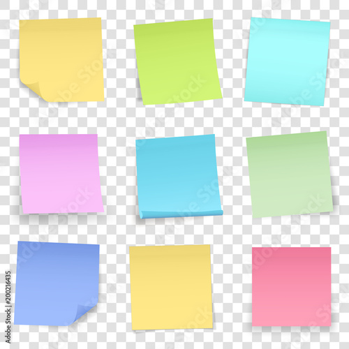 Creative vector illustration of post note papers sticker pin isolated on transparent background. Translucent adhesive sticky tape art design. Abstract concept graphic element. Sheet for your design