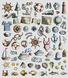 Vector set of Marine, Nautical cartoon 3d doodle objects