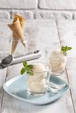 Vanilla ice cream cups and cornets.