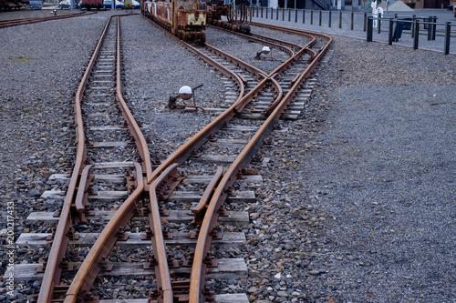 In de dag Spoorlijn Gleisanlage mit Weiche