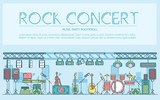 Thin line stage with different music instrunents and equipment for plating rock'n'roll concept.  Vector flat outline festival on rock concert design illustration - 200218631
