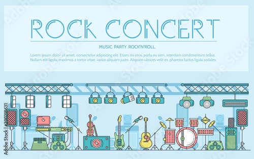 Thin line stage with different music instrunents and equipment for plating rock'n'roll concept.  Vector flat outline festival on rock concert design illustration