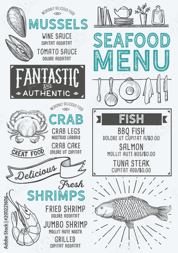 Fototapeta Seafood restaurant menu. Vector food flyer for bar and cafe. Design template with vintage hand-drawn illustrations.
