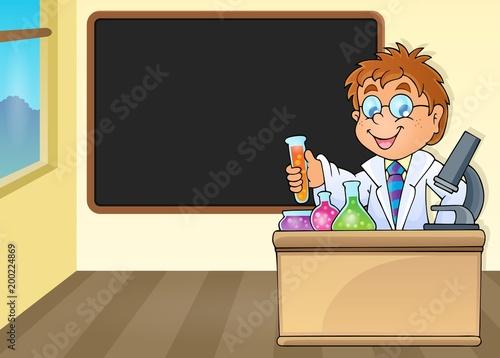 Poster Voor kinderen Chemistry teacher by blackboard