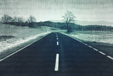 Artistic countryside asphalt road with abstract binary numbers background. - 200227216