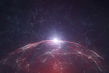 Futuristic network data sphere with lines and dots illustration background. View from space. Selective focus used. - 200227606