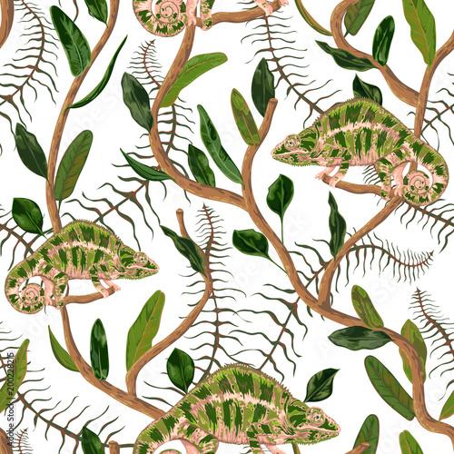 Bezszwowy wzór z tropikalnymi liśćmi i kameleonem. Egzotyczne tło botaniczne. Ilustracja wektorowa w stylu przypominającym akwarele