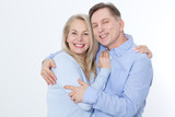 Middle aged Couple portrait isolated on white background. - 200228674