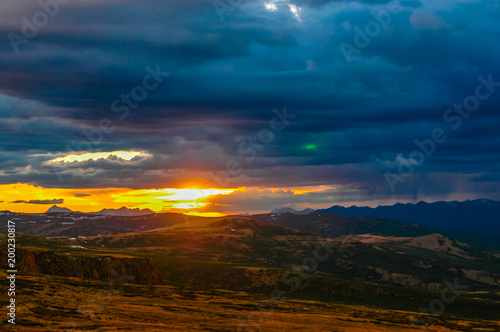 Plexiglas Nachtblauw Mountain landscape with clouds. Mountain valley. The Altai mountains. Dramatic sunset in the mountains. Travel adventure vacation background