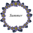 circle of cute violet flowers and leaves