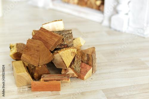 Foto op Aluminium Brandhout textuur Pile of firewood