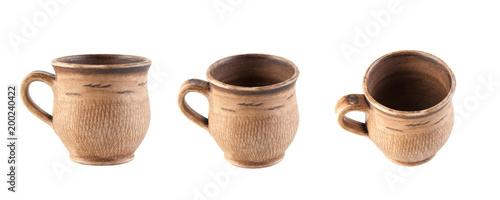Brown ceramiczna filiżanka odizolowywająca na bielu