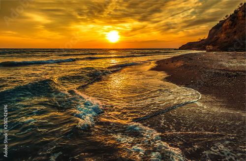 Sunset mountain ocean beach landscape - 200242696