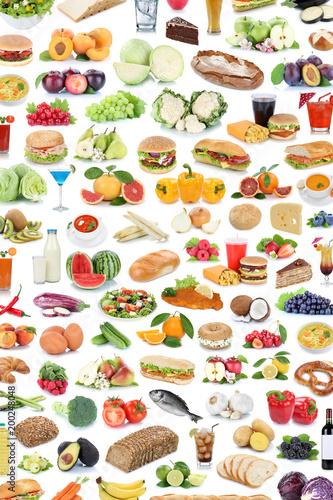 Sticker Sammlung Collage Essen gesunde Ernährung Obst und Gemüse Früchte Hintergrund Hochformat Lebensmittel Freisteller