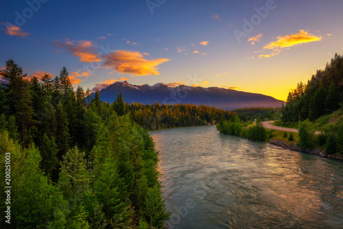 Canvas Canada Sunset above Fraser River near Jasper National Park in Canada