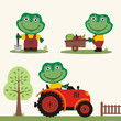 Set of funny frog farmer with shovel, with wheelbarrow with vegetables, in farm tractor. Collection of frog is working on the farm.