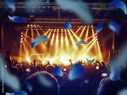 Foto Murales Concert climax with colourful confetti falling on the arena.