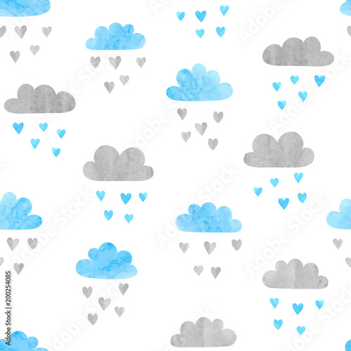 Seamless vector watercolor clouds pattern. Rain of hearts.