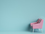 Classic pink chair on blue background with copy space - 200256466