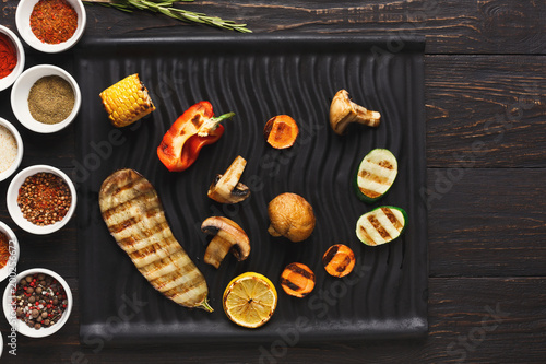 Grilled vegetables with spices top view - 200256672