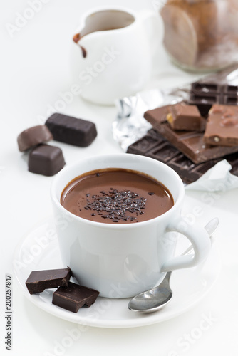 Fotobehang Chocolade hot chocolate on a white background, vertical, top view