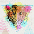 Hipster animal realistic and polygonal tiger on artistic watercolor background