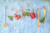 Vegetables, old kitchen utensils and herbs, healthy food, dieting, cooking