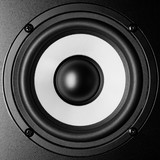 Black and white loudspeaker music sound, close up