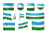 Set Uzbekistan flags, banners, banners, symbols, flat icon. Vector illustration of collection of national symbols on various objects and state signs