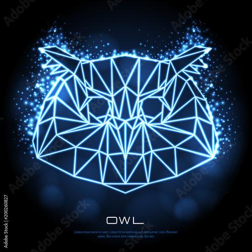 Abstract polygonal tirangle bird owl neon sign. Hipster animal illustration.